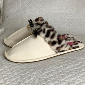 Kate Spade Slippers Leopard Lacey Cream Fuzzy NWT